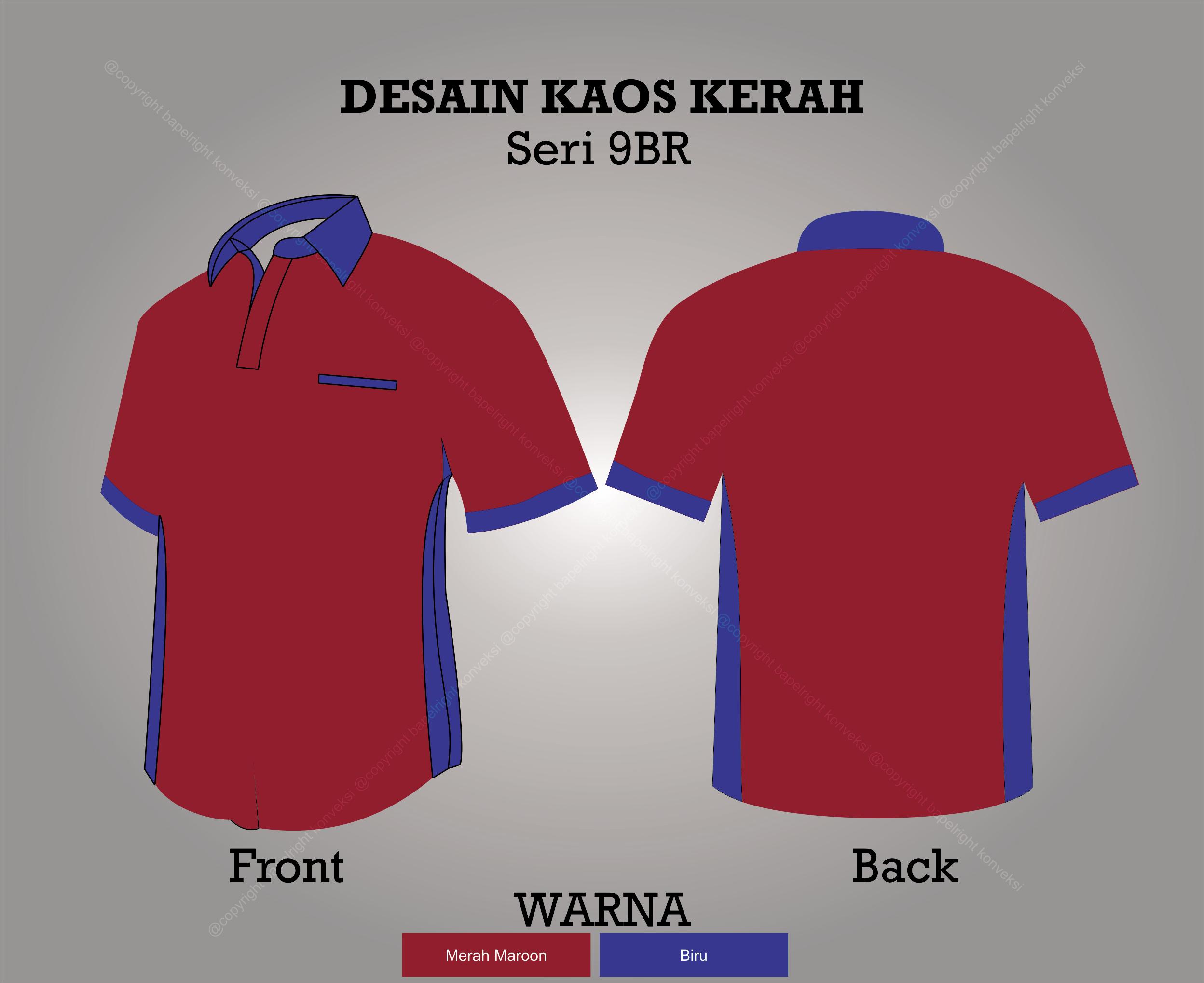 Desain Kaos Kerah merah dan biru