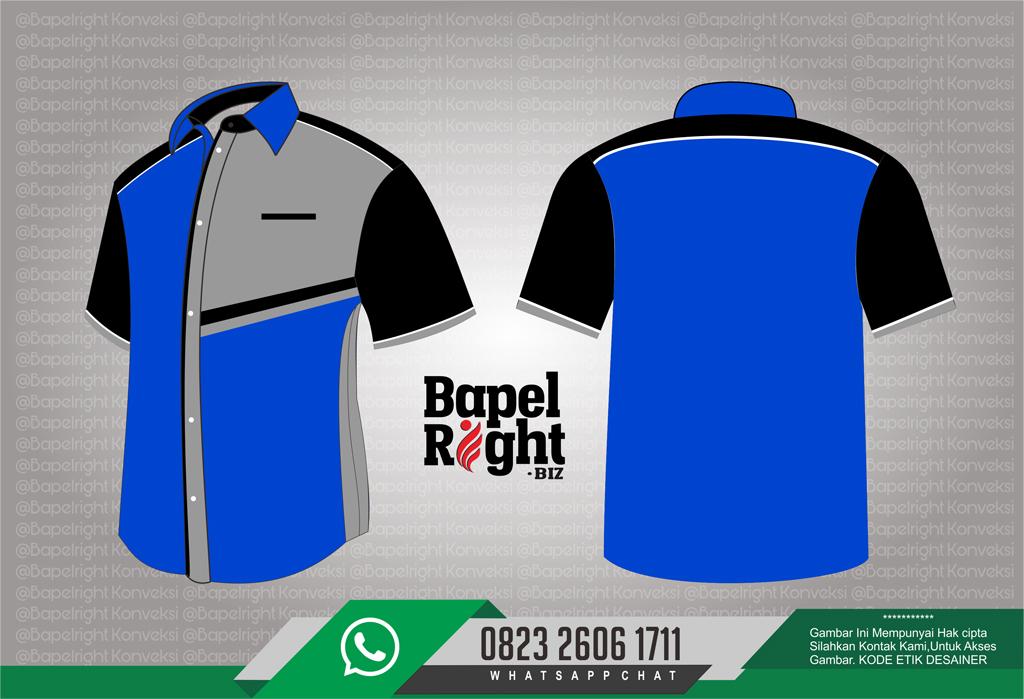 kombinasi warna seragam kerja biru dan hitam